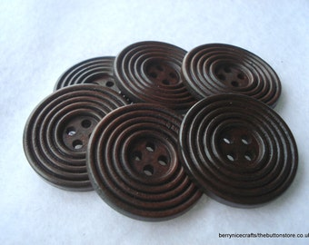 30mm Wood Buttons Dark Brown Ridged Button Pack of 6 Dark Brown Buttons W3062