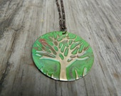 Tree of Life Embossed Patina Vintaj Brass Necklace.  Green Red Vintage Boho Chic.  Autumn Jewelry.