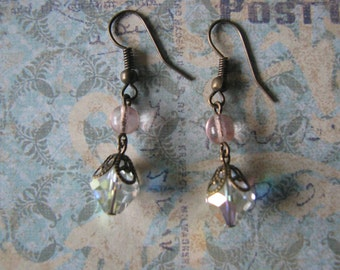Victorian Style Vintage Crystal and West German Glass Bead Earrings Assemblage Repurposed Upcycled