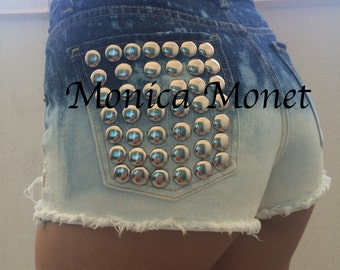 CLEARANCE High Waisted Bleached Ombre Studded Denim Shorts Cutoffs