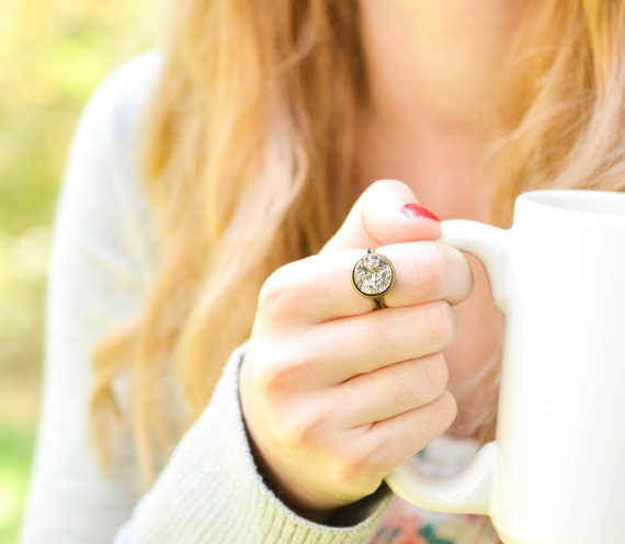 silver druzy ring