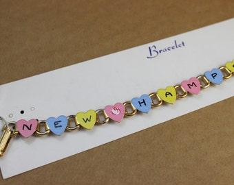 Vintage New Hampshire Enamel Heart Souvenir Bracelet