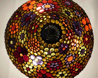 Stained glass table lamp - multi colored jewels - one of a kind - large