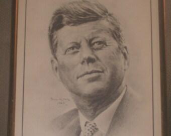 Framed vintage pencil portrait print of JFK dated 1963 by Austrailian artist PAUL KUEK