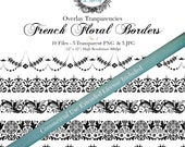 """Vintage French Floral Border Overlay Transparency  # 1- Designer Templates - Commercial Use Allowed  ( 5 Separate - 12"""" x 300dpi)  PNG Files"""