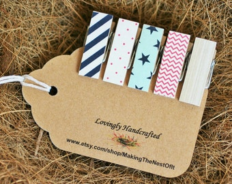 Chunky Clothespins, Pink and Mint, Stars, Magnet Option, Cute Clips, Set of 5