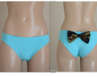 Turquoise fully lined full covarage bow bottoms bikini bottoms bow bottoms swimsuit bikini brazilian bottom string bottoms