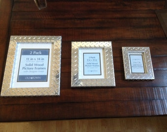 Aluminum Diamond Plate Picture Frame, Medium Size