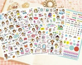 Daily Life Sticker Set - Korean Sticker - Diary Sticker - Cell Phone Sticker - Filofax - 4 Sheets in