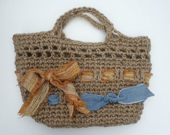 Crocheted Tote Bag: Small Strong Jute Tote.  Little Bag.  Made in England