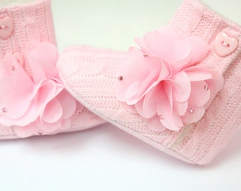 Knitted Baby Boots, Flower Baby Boots, Pink Baby Boots, Swarovski Baby Boots, Baby girl, Birthday, Photo Prop