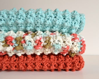 Cotton Crochet Dishcloth 3 Piece Set - Coral Reef Collection