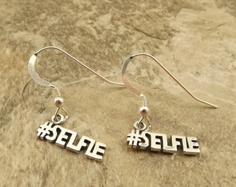 Sterling Silver #Selfie Charms on Sterling Silver French Hook Earrings - 1232
