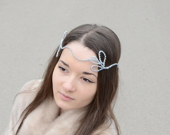 Bridal  Hair Accessories, Bridal Halo, Crystal Crown, Silver Blue Rhinestone Bridal Headband, Rhinestone Tiara, Bridal Headpiece
