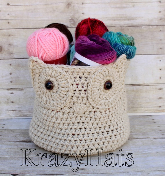 Crochet Owl Basket : Crochet Owl Basket. by KrazyHats1 on Etsy