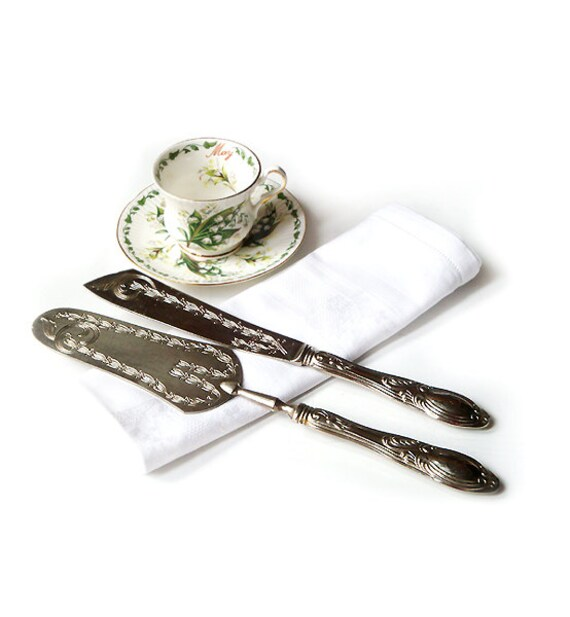 vintage wedding cake serving set vintage set cake server and cake knife wedding cutlery 21611
