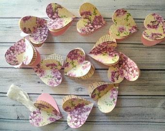 Violet Heart Garland,  Spring Wedding Decor, Bridal Shower Decor, 3D Hanging Hearts 6ft, Photo Prop,  Paper Heart Garland