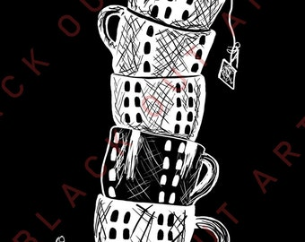 Leaning Tower of Tea Cups: Art Print (4x6 or 8x10)