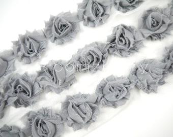 "1.5"" PETITE  Shabby Rose Trim -  Grey Color - Chiffon Trim -  Shabby Trim - Hair Accessories and Craft Supplies"