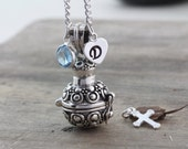 Sterling silver Ashes necklace, Silver Ash Pendant necklace, Prayer Box Necklace with Birthstone & Initial, Perfume Locket necklace, Rf 324