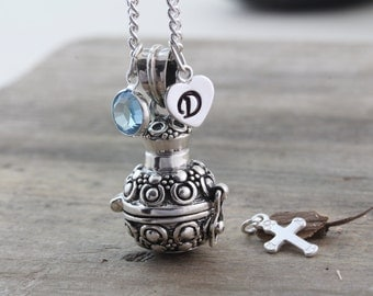 Sterling silver Cremation Urn Necklace, Cremation Jewelry, Small Urn Memorial keepsake, ashes holder, urn jewelry vial. 2 charms inc. Rf 324