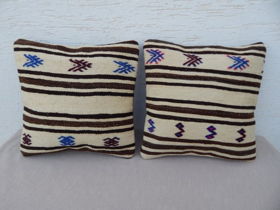 Shabby Chic Decorative Pillows Set-Cream Brown by pillowsstore