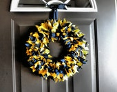 Go Blue University of Michigan Rag Wreath College Dorm Blue and Maize Wolverine U of M April
