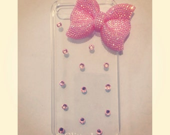 Bling bow and crystal iPhone 4, iPhone 4S, iPhone 5, iPhone 5s, iPod 4, galaxy s3 case