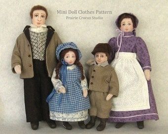 Download  1:12 scale doll clothes sewing pattern. Prairie pioneer costumes for one inch scale cloth doll family miniature mannequins.