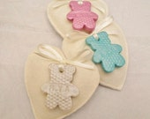 10 Baptism Favours Felt heart with Personalised Clay Teddy Pendant & Fragrance Christening/Dedication/Baby shower