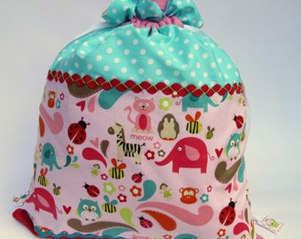 Sale - Toy Storage or Laundry Bag - Drawstring Sack - Alphabet Soup Animals