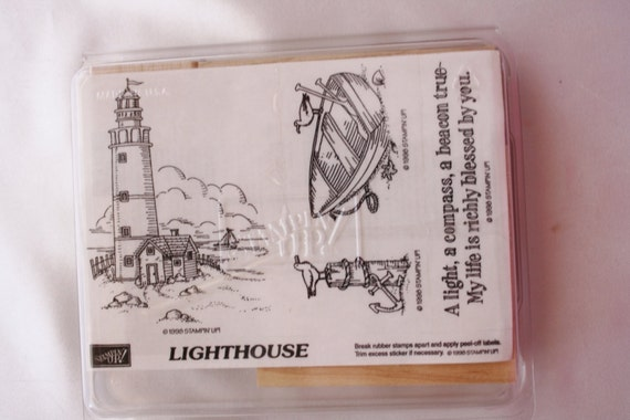 Lighthouse Set Of Four Mount Rubber Stamp Set B63 Retired