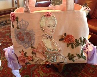 CUSTOM ORDERS Marie Antoinette Portrait Handbag Embroidered Silk Thread Painting Needlework Rococo Baroque Art