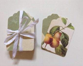 20 paper tags with 2 different prints: green triangles/fruits and leaves. 5 cmx7 cm