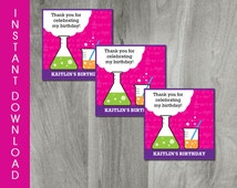 Self Editable Girl Science Party Favor Tag, INSTANT DOWNLOAD, Birthday Favor Labels, Science Printable, Personalize, Diy, Digital Pdf File