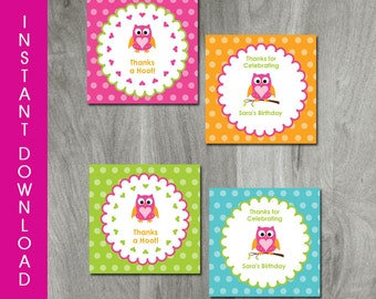 Owl Birthday, Self Editable, INSTANT DOWNLOAD, Owl Favor Tags, Party Printable, Personalize, Diy Party Labels, Shower Tags, Digital Pdf file