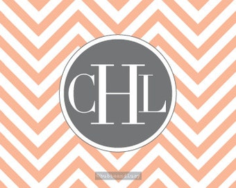 monogram chevron note cards . set of 25 (4 x 5.5) cards . envelopes included