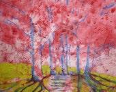 Impressionist Landscape Watercolor Batik Painting OOAK Painting Distressed look Rice Paper
