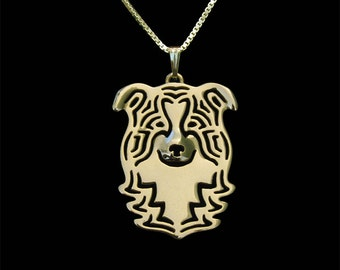 Border Collie jewelry - gold pendant and necklace