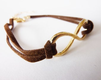 Leather Bracelet Wristlet Friendship Leather Infinity Bracelet