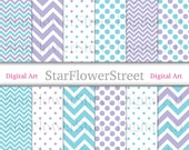 Purple Turquoise Digital Paper Polka Dot Chevron- teal DIY bridal shower party decoration scrapbook background instant download printable