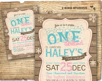 winter onederland birthday party invitations winter onederland invitation rustic winter onederland party diy printable - Winter Onederland Party Invitations
