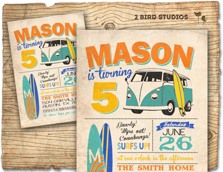Surf invite surfboard invitation with camper van vintage