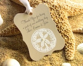 Customize Any Color and Message,10 Wedding Fancy Label Gift Favor Tags, Hand Embossed Sand Dollar Thank You Tag Beach Weddings Showers Kraft