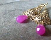 Hot pink jade drops.