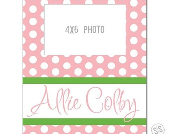 Monogrammed and personalized picture frame, bridal frame, baby frame, 4x6 frame