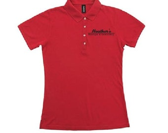 Custom Embroidery Ladies Henley Polo Quality Shirts