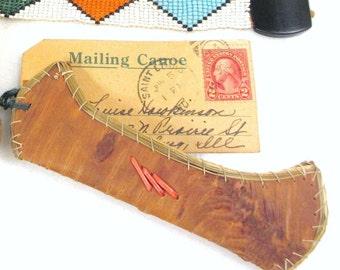 DECO Vintage 1920s Hand Made Birch Bark Native America Indian Canoe & US Postal Mailer Postcard Greetings Travel Souvenir Kitsch