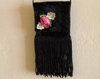 Victorian mini necklace purse - Black crushed velvet with pink rose and crystal accents - hand made