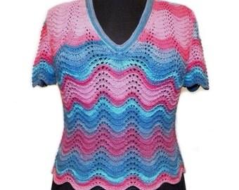 Hand knit shirt - knit top - knit pullover - open back top - summer shirt - woman knitwear - summer pullover - pink shirt - stripped shirt
